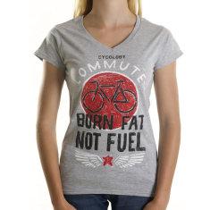 Burn fat not fuel women's t-shirt in grey