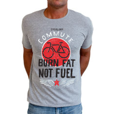 Burn fat not fuel men's t-shirt in grey