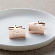 Personalised Rose Gold Location Cufflinks