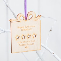 Personalised Present Birchwood Christmas Baubles