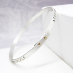 Personalised silver and gold riveted bangle
