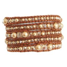 Chan Luu vintage gold pearl mix 5 wrap bracelet