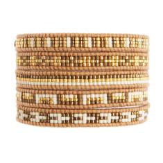Chan Luu gold mix beads on henna leather