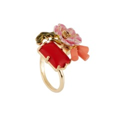Pink flower and red stone Adjustable ring