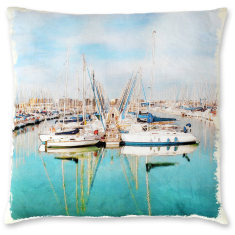 Provence Boats linen cushion cover