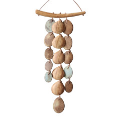 Wood and stoneware 3-strand wall hanging