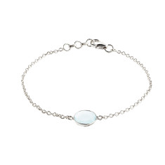 Tablet single stone bracelet with aqua chalcedony in silver