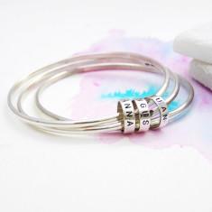 Personalised Silver Hoop Bangles