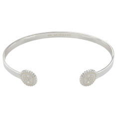 Lace doily open cuff in sterling silver