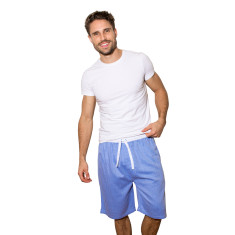 Blue herringbone sleep shorts
