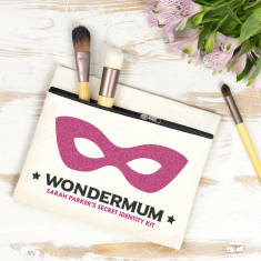 Personalised 'Wondermum' Secret Identity Makeup Bag