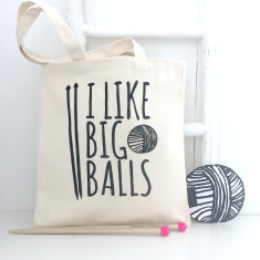 I Like Big Balls Natural Canvas Knitting Bag