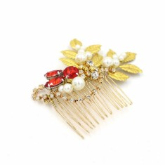 Golden leaves with red crystal hair comb
