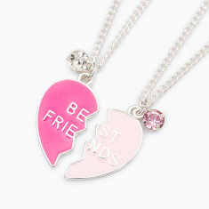 Best friends heart set of necklaces