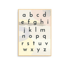 Contemporary Scandinavian Nursery Alphabet Wall Art Print with Collage