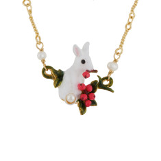 glittered white rabbit and red berries necklace