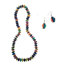 Biba Artisan Long Necklace Multi + Artisan Drop Earrings Set