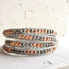 Dove Grey Leather Multi Wrap Beaded Bracelet