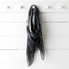 Black ink silk scarf