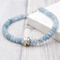 Aquamarine March Birthstone Personalised Bracelet