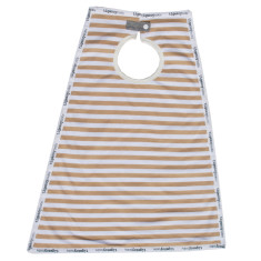 Cotton maxi bib for babies, infants, boys and girls in camel stripe (tan)
