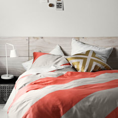 Big stripe coral quilt cover
