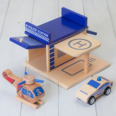Wooden Click And Clack Police Station Set