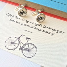 Einstein quote bicycle cufflinks