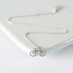 Silver my bicycle necklace