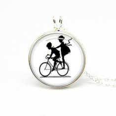 Kids on bike silver or antique chain necklace