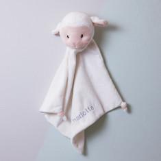 Personalised lamb baby comforter