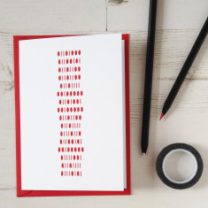 Secret hello I love you binary message anniversary card
