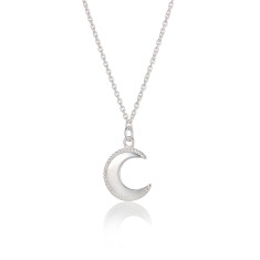 Sterling Silver Crescent Moon Phase Necklace
