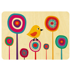 Bird in flowers wooden card