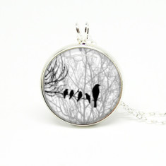 Black and white bird silver or antique chain necklace