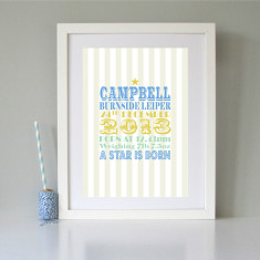 Personalised new baby art print (various colours)