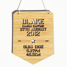 Personalised birth details bamboo wall hanging (girls and boys)