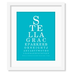 Modern eye chart birth print (own colours)