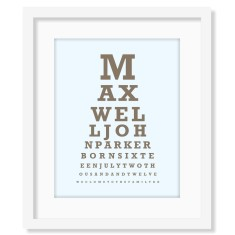Classic eye chart birth print (own colours)