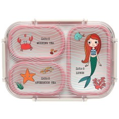 Personalised Bento Lunch Box - Under The Sea Mermaid (Pink)