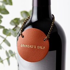 Personalised Leather Bottle Tag for Men