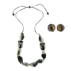 Eloquence artisan single necklace + studs matching set