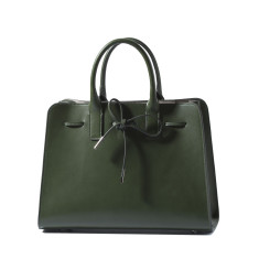 Elegant leather tote shoulder bag in green
