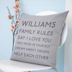 Personalised Family Rules Cushion