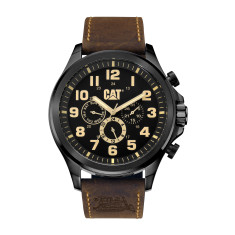CAT Operator series Watch in Gun Metal case with Brown Leather Band and Black/Beige Dual-Time Multi-dial face