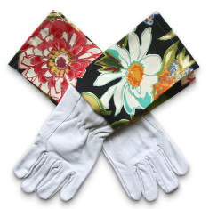 Protective Cuff leather gardening gloves in Pierette Licorice