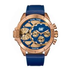 CAT DV series Dual Timer in Rose Gold Plated steel & Blue Band plus free gift