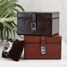 Personalised Leather single watch box