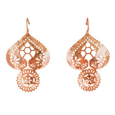 Lace doily large earrings in rose gold plate