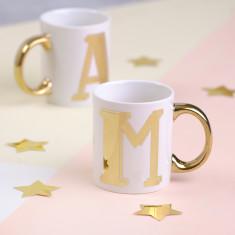 White & Gold Letter Porcelain Mug